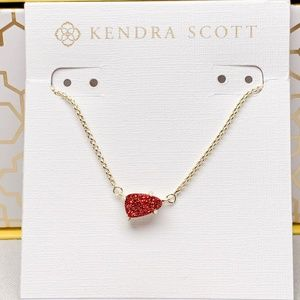 New Kendra Scott Helga Gold Red Drusy Necklace